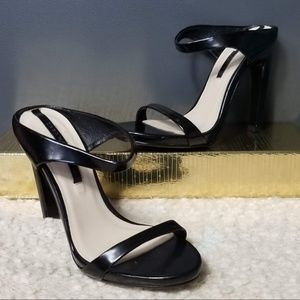ZARA Woman Black strappy slide on heels 6